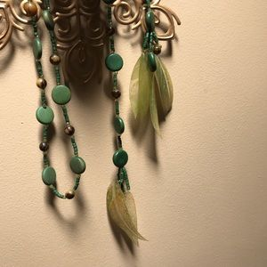 Green wooden beaded wrap necklace with leaves